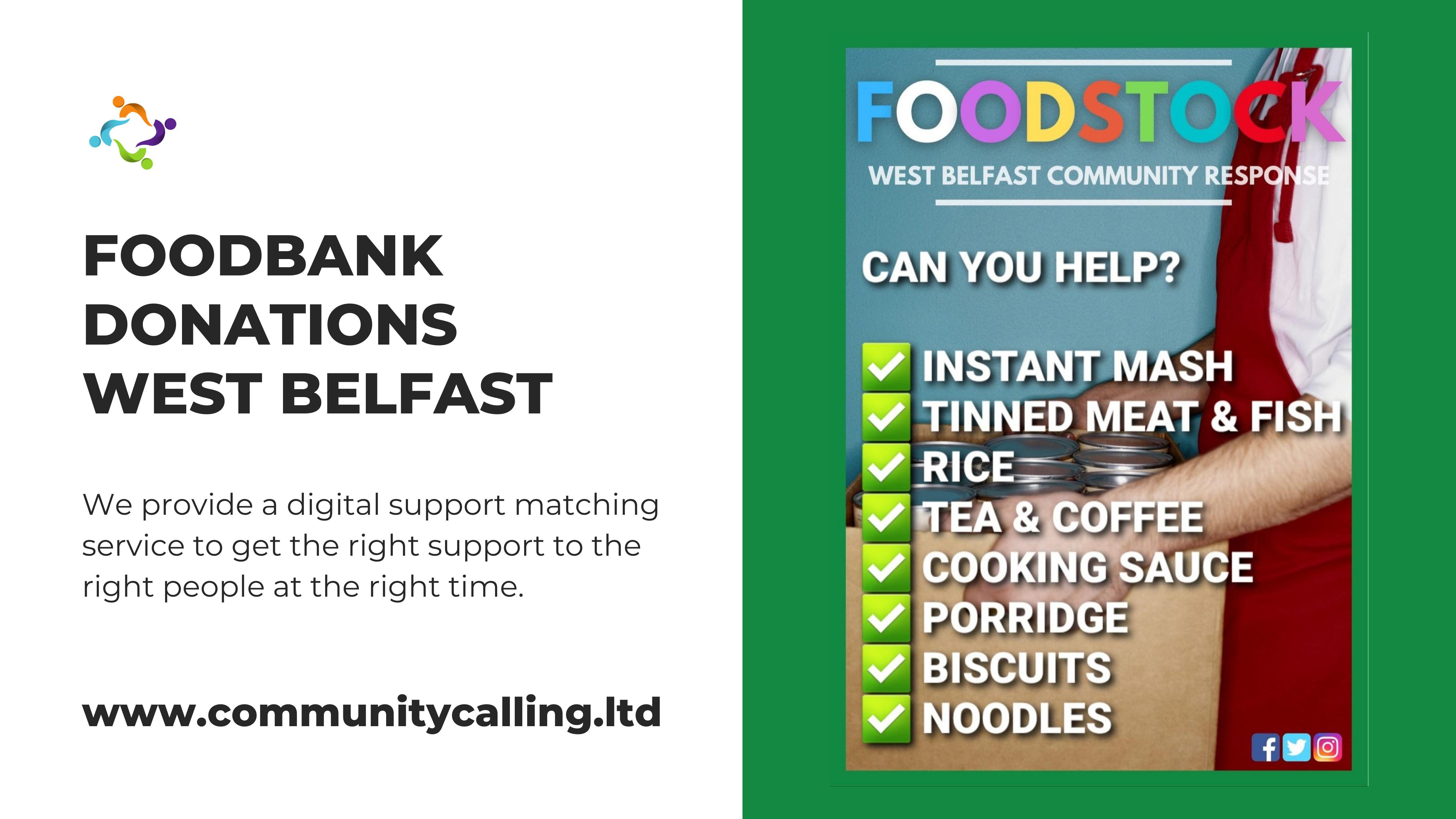 FOODSTOCK FOODBANK DONATIONS WEST BELFAST