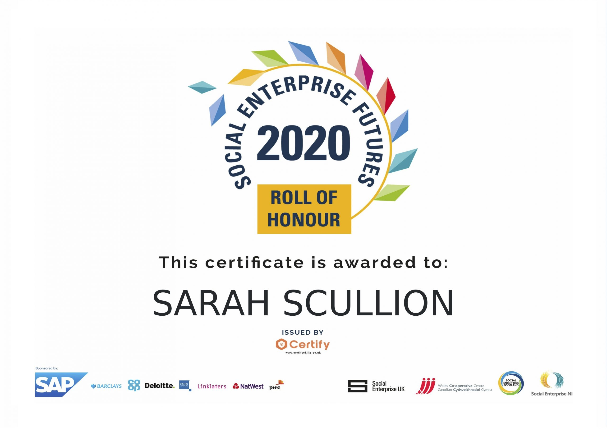 UK Social Enterprise Roll of Honour_Sarah Scullion